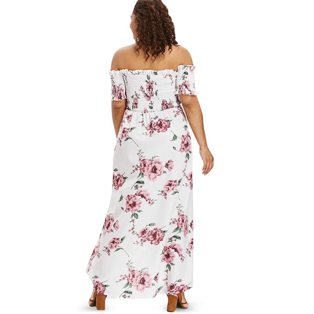 f48382f596cb Wipalo Plus Size Flower Empire Waist Maxi Dress Asymmetrical Tulip Off  Shoulder Floor Length Bohemian Dress Big Size Vestidos-in Dresses from  Women's ...