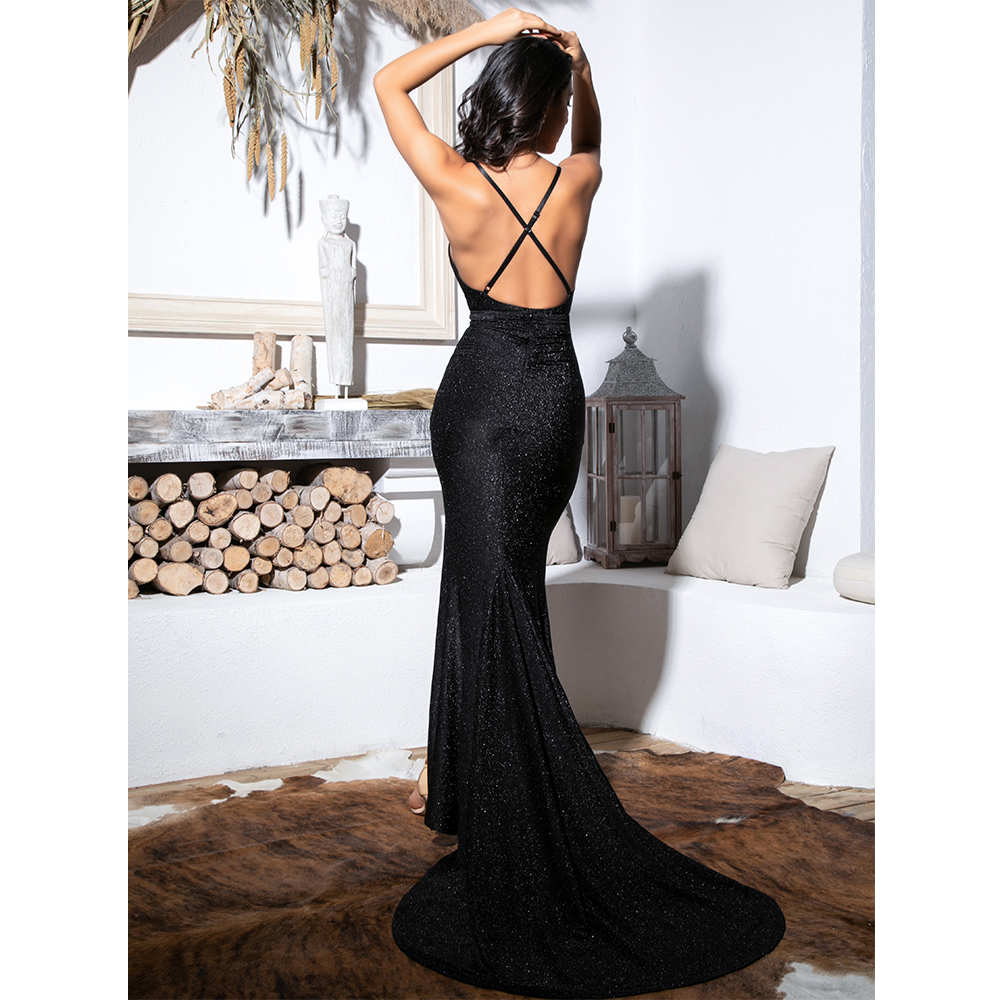 Love&Lemonade Sexy Black Deep V-Neck Cut Out Bodycon Shiny Elastic Fabric Maxi Dress LM81709-1 8