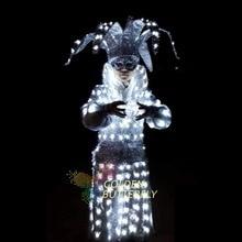 LED Clothing Men/Women Glowing Circus Clothes 2015 Fashion Amusement Park LED Suits Ballroom Mechanical Dance Dress Accessories