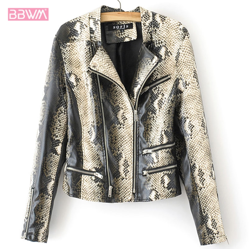 2018 Winter Women Vintage Python Snake Printed Lapel Coat Outerwear Cardigan Jacket