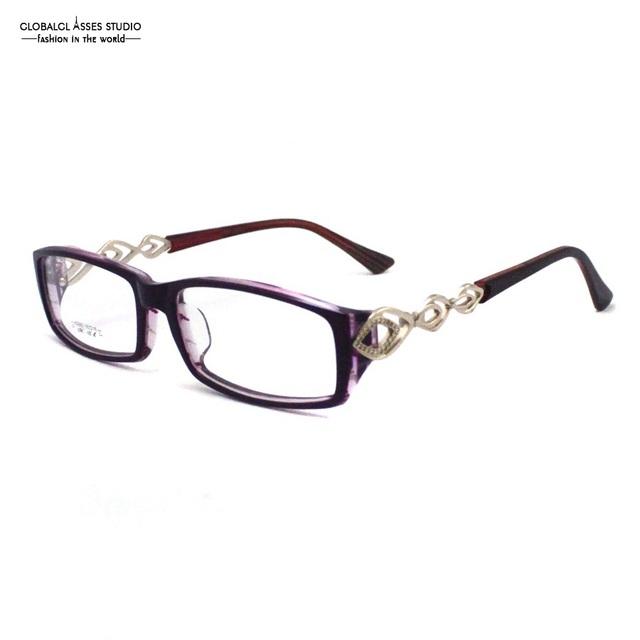 Precioso Feito À Mão Acetato Óculos Mulheres Lente Retangular Roxo na Cor Cristal Rhinestone Metal Templo Armações Z017