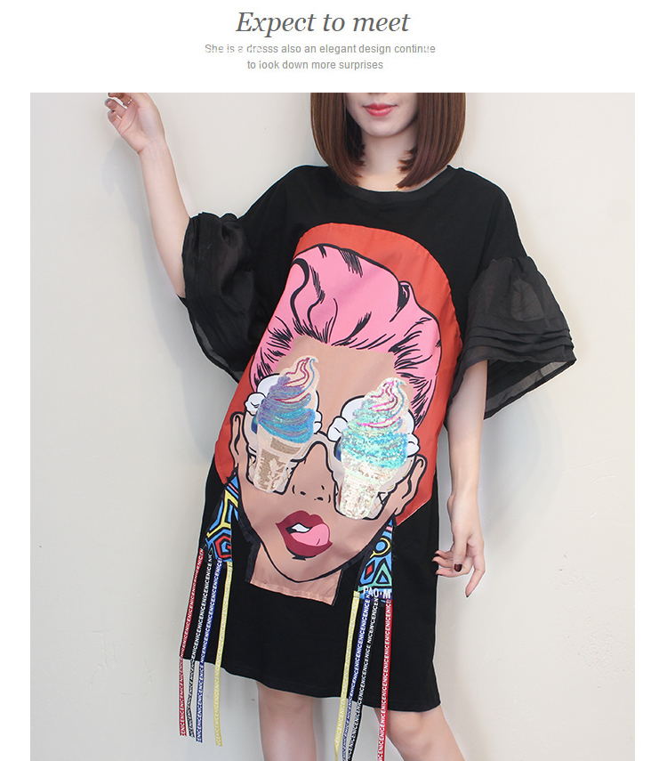 ae1316d6fbea Cartoon Girl Ice Cream Eye Printing Dress Novelty Flare Sleeve Sequins Dress  Women Casual Summer Dresses-in Dresses from Women s Clothing on  Aliexpress.com ...