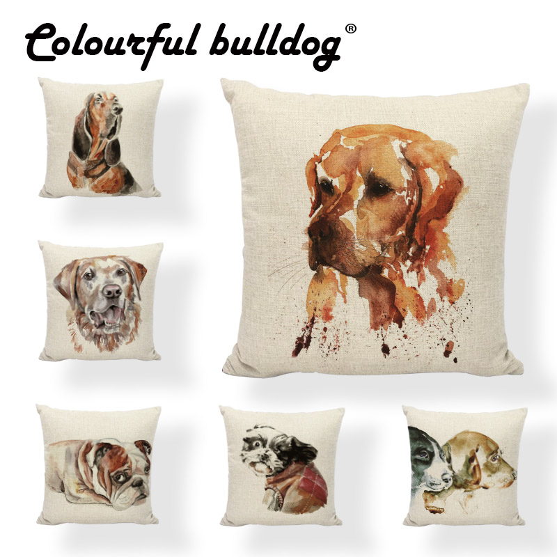 Fashion Popular Cute Funny Pet Dog 43*43CM Cushion Cover French Bulldog Golden Retriever Decorate Living Room Office Pillow Case