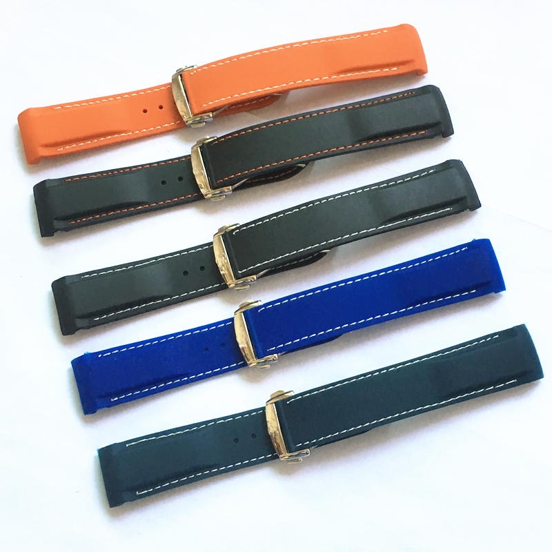 LUKENI 20mm 22mm Black Orange Blue Silicone Rubber Watchbands With Stitching Buckle For Omega Seamaster Speedmaster Ocean Strap lukeni 24mm camo gray green blue yellow silicone rubber strap for panerai pam pam111 watchband bracelet can with or without logo