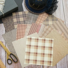 16 Sheets/lot 16.5*16.5cm  DIY Brown Lattice Wood Design Paper Wrapping Creative Craft Background Scrapbook