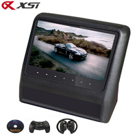 XST 9 Inch Car Headrest Monitor Video DVD Player with USB/SD 800*480 LCD Screen Backseat Displayer IR/FM Transmitter Remote Game