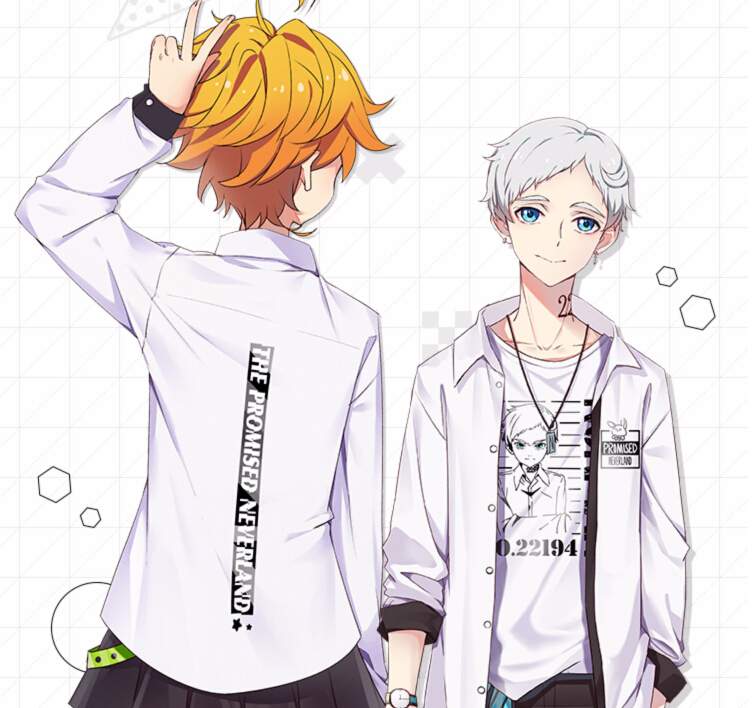 Anime The Promised Neverland Phil Gilda Don Ray Norman Emma Cosplay Costume  Printed T-shirt Long Sleevel Shirt