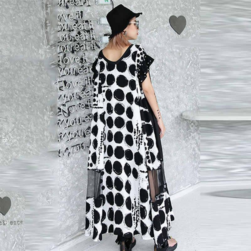 XITAO платье миди в горошек с сеткой и заклепками для женщин, летнее Сексуальное женское платье с коротким рукавом, плюс размер, мода 2019 DLL3570