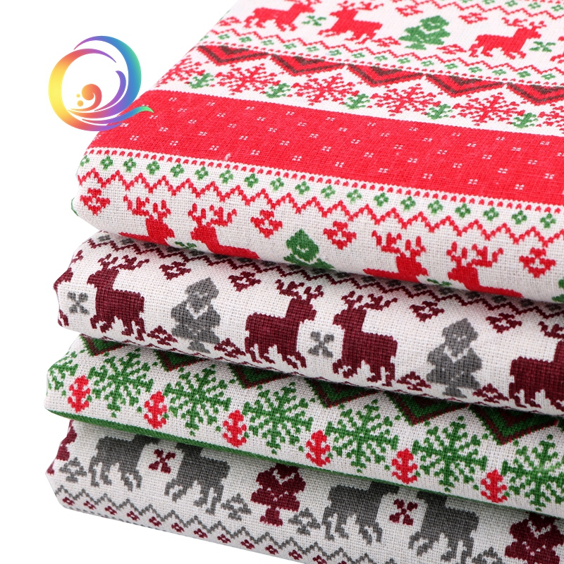 1M Red REINDEER XMAS Fabric COTTON Patchwork Crafts Quilting Sewing