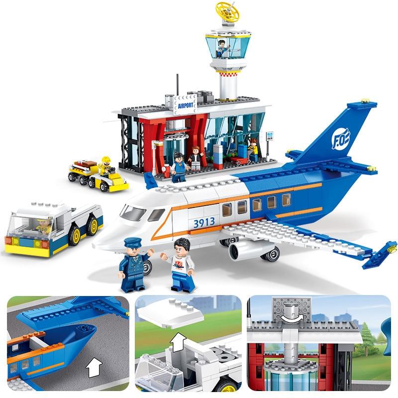 864 個子供のビルディングブロックのおもちゃ互換 Legoingly 市フィギュアれんが市センター空港誕生日プレゼント  グループ上の おもちゃ & ホビー からの ブロック の中 1