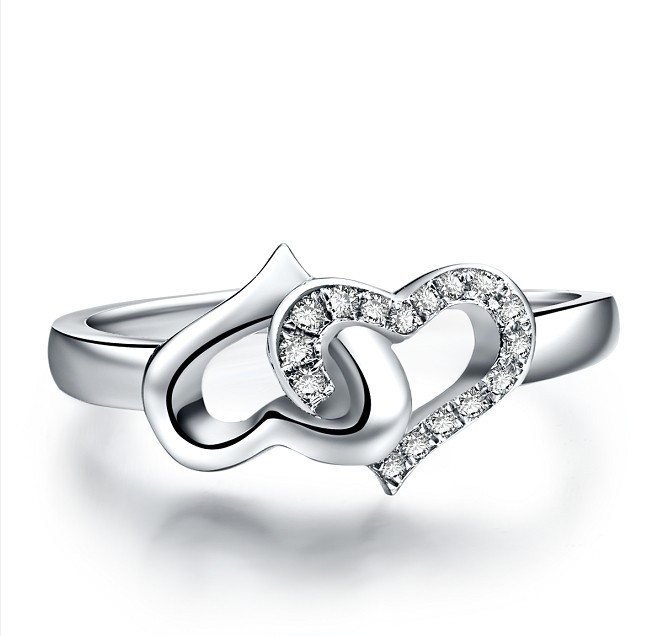 Well-liked Double Heart Shape Semi Mount Silver Ring Genuine Synthetic  DC19