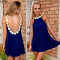 2015 New Arrival Lace Dress chiffon Backless Spaghetti Strap women beach dress casual vestidos plus size 35