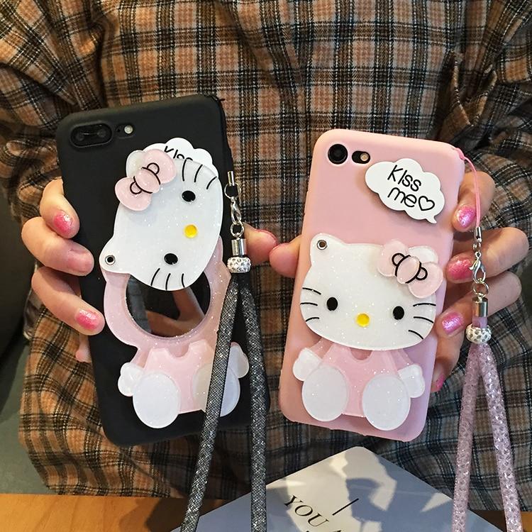 SAM Note 9 Hello Kitty Case Cartoon Mirror Soft Phone