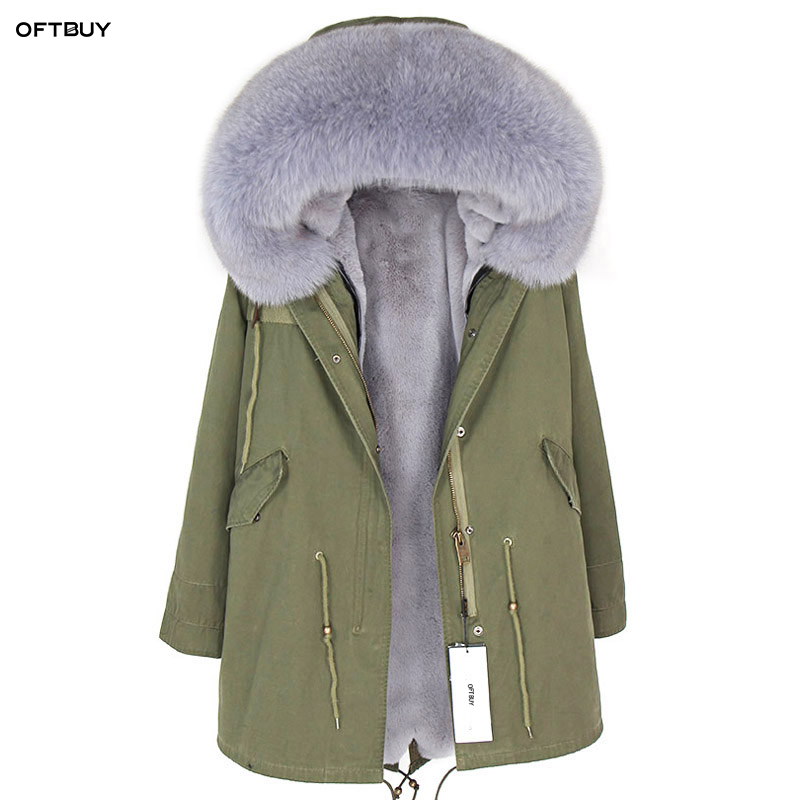 OFTBUY 2019 New Winter Jacket Women Real Fur Coat Parka Raccoon Fur Collar Faux Fur Liner Loose Army Green Long Coat Streetwear