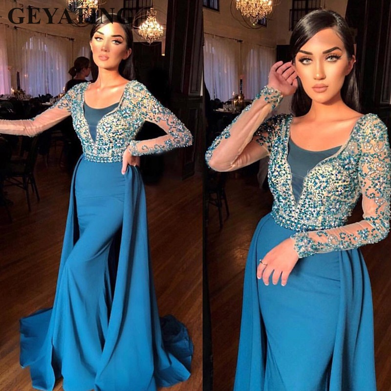 Turquoise Blue Long Sleeves Dubai   Evening     Dresses   Detachable Skirt Crystal Beaded Mermaid Satin Arabic Prom   Dress   Formal Gowns