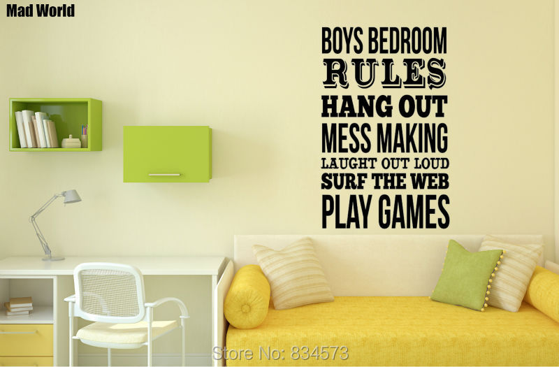 Mad World Boys Bedroom Rules Quote Wall Art Stickers Wall Decal Home ...