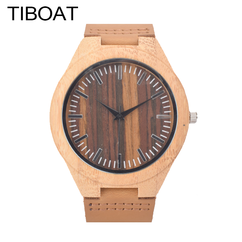 TIBOAT Mens Watches Top Brand Luxury Bamboo Wooden Quartz Watch Men Fashion Casual Clock Men's Wristwatch Relogio Masculino fashion casual style mens dress wooden wristwatch for men watch wood top brand luxury antique wooden sandal men s quartz watches