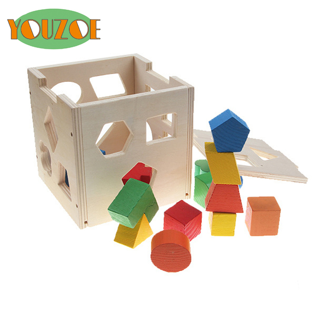 Great YOUZOE Sorting Cube   Class Educational Wood Toy Children Multifunction  Early Learning Wooden Toys Cube Color Pictures