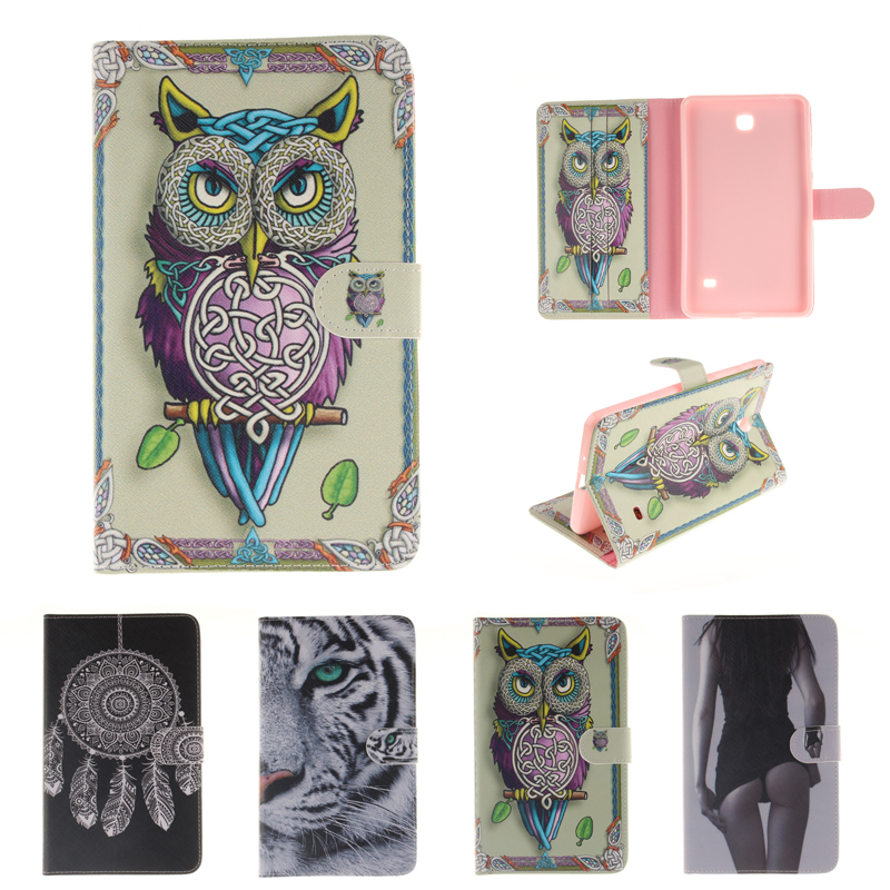 Painted PU Leather Flip Case for coque Samsung Galaxy Tab 4 7.0 Case for Samsung Galaxy Tab 4 T230 T231 T235 Smart Case Cover