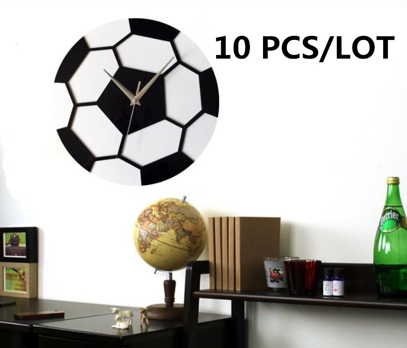 10PCS/LOT DIY Wall Clock Modern Design Living Room Decoration 12 Inch Minimalist Soccer Wall Clocks Silent Mute Round Watches