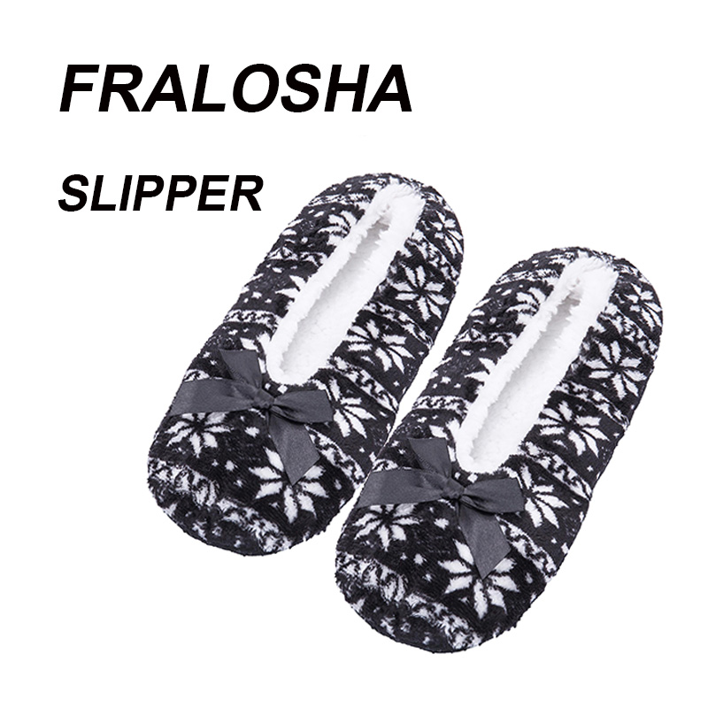 купить (Ship from US)FRALOSHA Snowflake pattern home woman Shoes cotton wool plush women floor shoes non-slip indoor shoes недорого