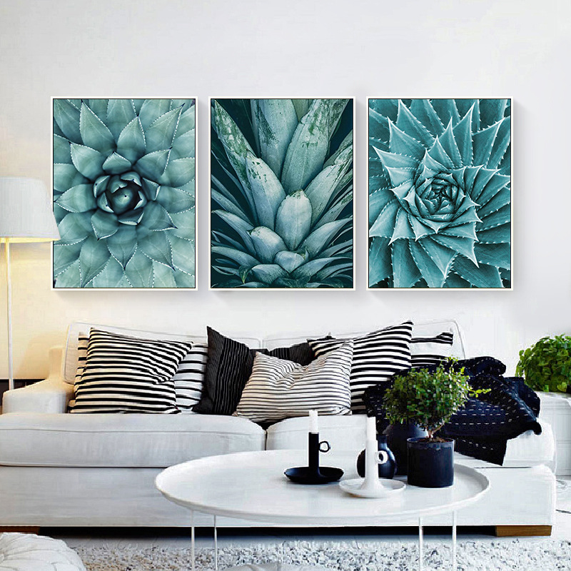 HAOCHU Triptych Nordic Succulents Raw Stone Cactus Flower Oil Painting On Canvas Art Print Wall Poster