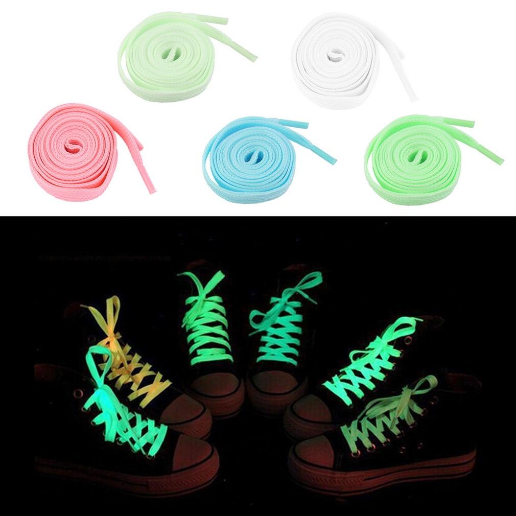 2 Pcs 100cm Luminous Glow In The Dark Fluorescence Shoelace Shoe Lace Polyester Nylon multicolor Worldwide sale стоимость