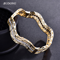 BUDONG Fashion Wave Shaped Bangle for Women  Gold  Plated Bangle Bracelet Crystal Zirconia Statement Jewelry Z012
