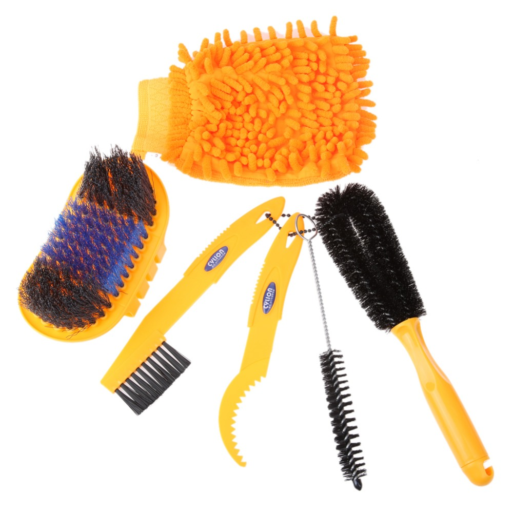 NEW 6 in 1 Bicycle Cleaing Tool Kits Chain Cleaner Tire Brushes With Glove Bike MTB Cleaning Gloves Cycling Cleaners Kit Sets 50ml mtb cycling bicycle chain special lube lubricat oil cleaner repair grease bike lubrication