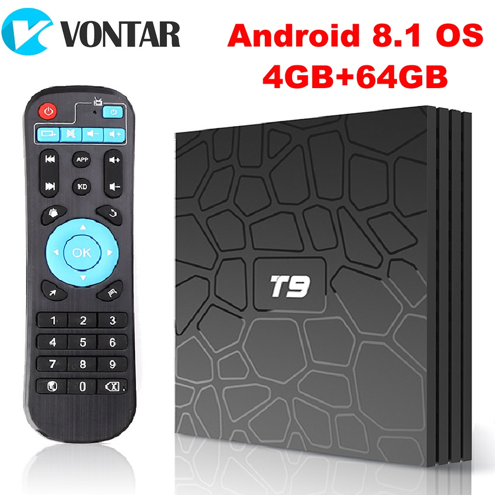2018 VONTAR T9 Android ТВ Box Android 8,1 4 ГБ, 32 ГБ, 64 ГБ Smart ТВ Rockchip RK3328 1080 P H.265 4 K GooglePlay медиаплеер PK H96
