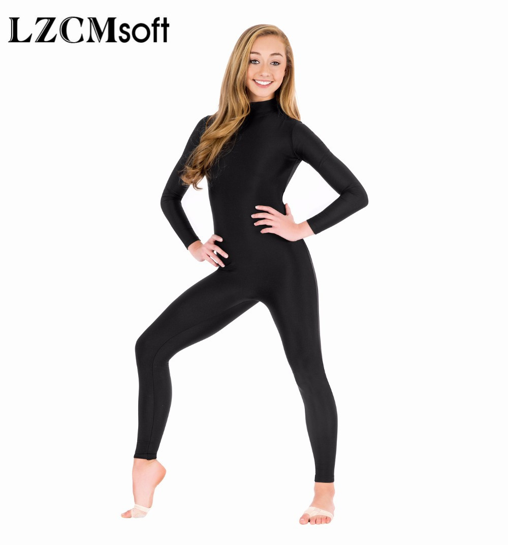 Image 4 - LZCMsoft Women Full Body Mock Neck Long Sleeve Ballet Unitards Bodysuit Adult Lycra Spandex Dance Suit Show Costumes-in Ballet from Novelty & Special Use