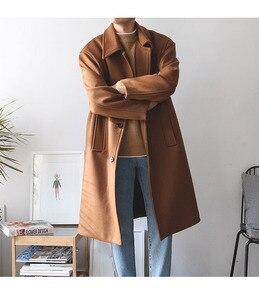 Image 4 - Casual Koreanische Stil Männer Wolle Mischung Mantel Lange Kaschmir Jacke Einreiher Herren Mäntel