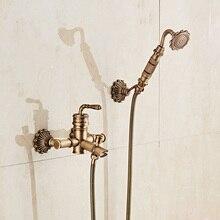 цена на Bamboo Shower Faucet Mixer Tap Antique Bronze Brass Bath Shower Faucet Set Bathtub Faucet Torneira Bath