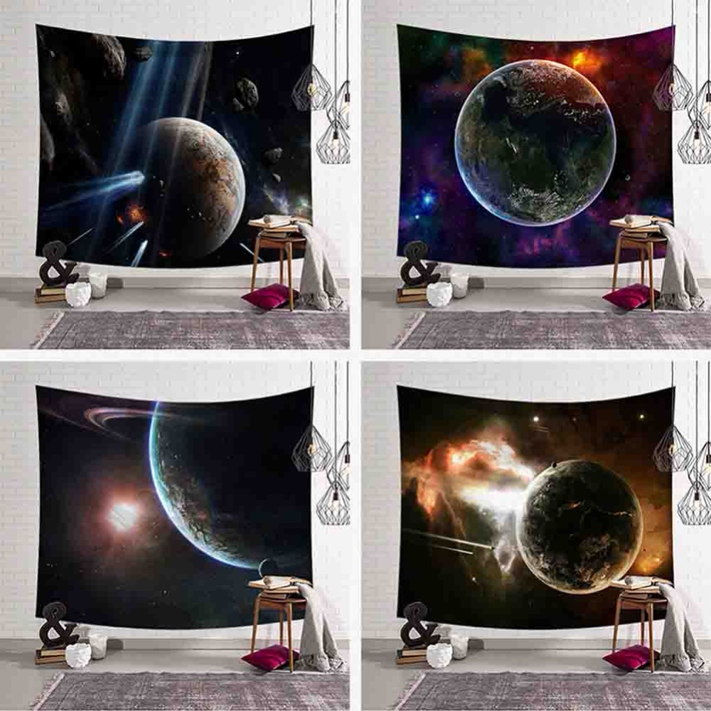 Beautiful Space Scenic Tapestry Moon Earth Hanging Wall Picture Night Scenery Beach Towel Nature Tenture Mural Polyester Carpet