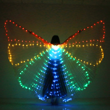 Colorful Belly Dance Performance LED Wings Dance Accessories Girls LED ISIS Butterfly Wings LED Butterfly Wings With Sticks Bag butterfly wings виброкольцо для пениса 5781180000