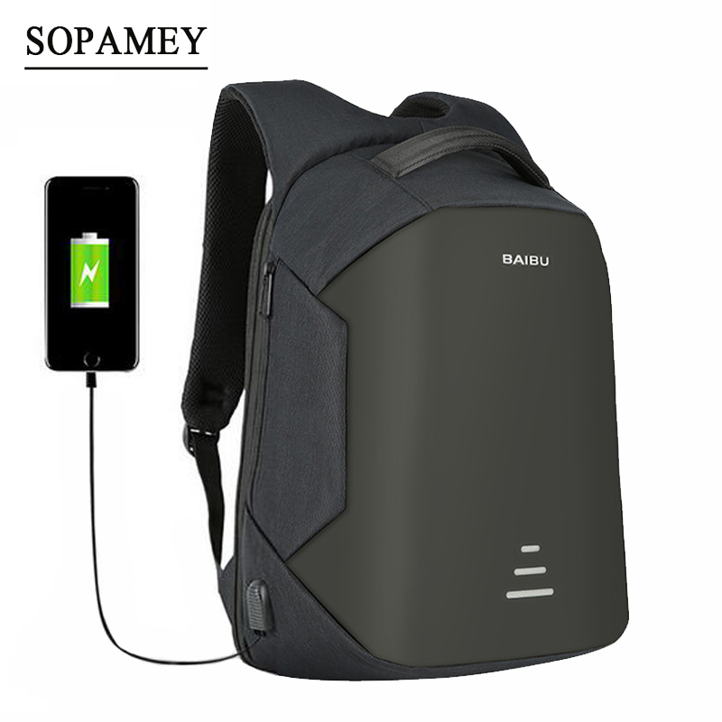 SOPAMEY USB Charge Men Anti Theft Travel Backpack 16 Inch Laptop Backpacks For Male Waterproof School Backpacks Bags Wholesale 14 15 15 6 inch flax linen laptop notebook backpack bags case school backpack for travel shopping climbing men women