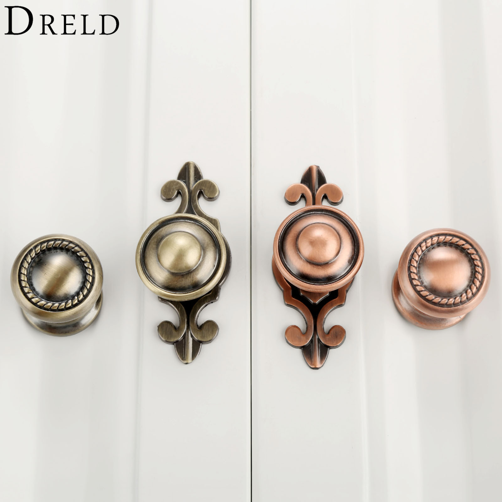 DRELD Furniture Handles Vintage Cabinet Knobs and Handles Alloy Door Knob Cupboard Drawer Kitchen Pull Handle Furniture Hardware 1pc furniture handles wardrobe door pull drawer handle kitchen cupboard handle cabinet knobs and handles decorative dolphin knob