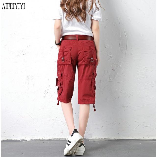 Denim Pantalon Femmes 2019 Army Green Loose Knee Length Multi-Pocket Baggy Jeans Cargo Short Pants Men/Womens Military Trousers 1
