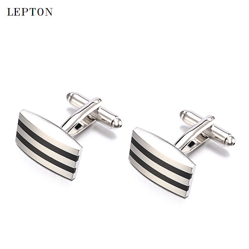 Hot sale Black Enamel cufflinks Lepton Brand High Quality Business Enamel cuff links for mens shirt wedding cufflinks gemelos