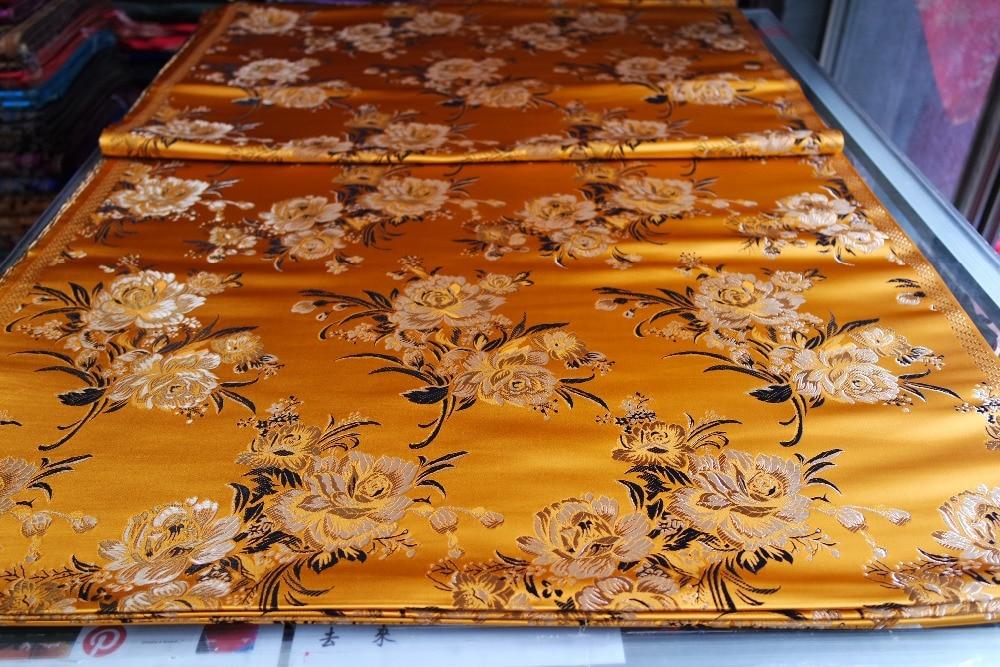 Tradisional cina brokat, Polyester 75 CM lebar bantal cheongsam, Qipao emas klasik kembali dengan pola peony satin permadani