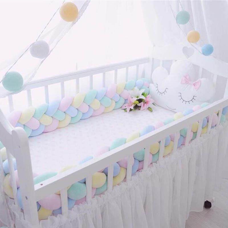 2 3M Mixed Color Braided Cushions Crib Bumper Knot Pillow Cushions for Sofa Bolster Pillow Crib