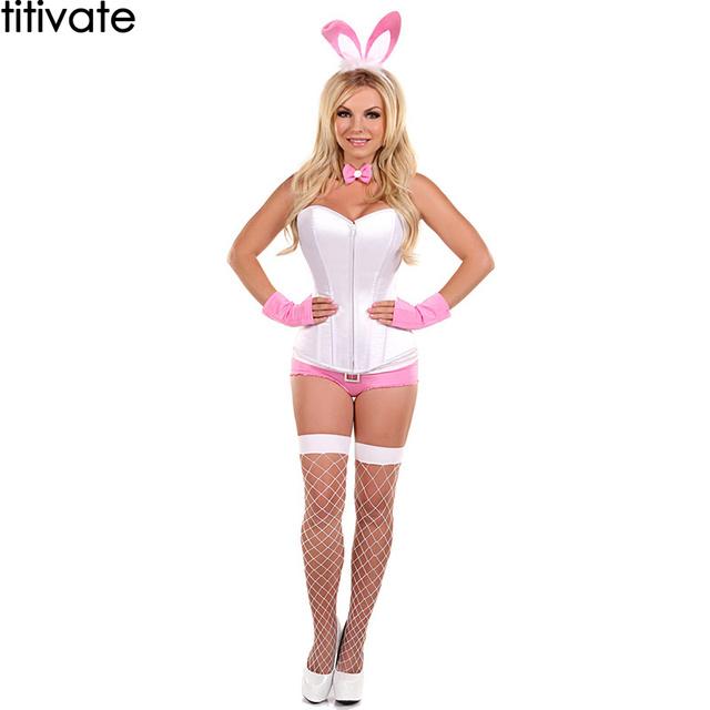 ENFEITAR Tops Sexy Bustier Espartilho Branco Rosa Curto Coelho Coelhinho da Páscoa Traje Adulto Jogo Role Play Traje Do Carnaval Para Mulheres Cosplay