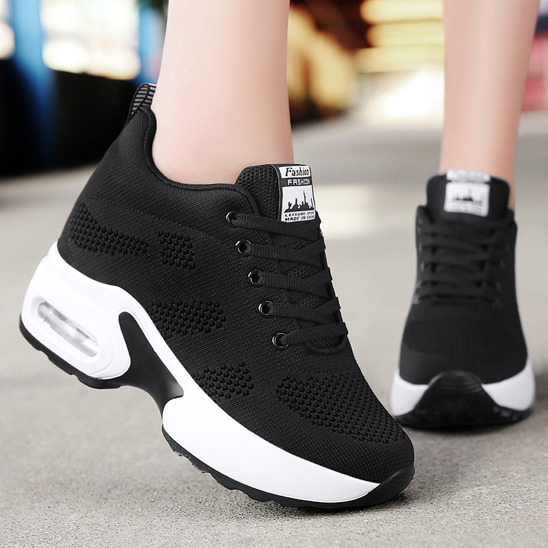 Women's Casual Shoes Spring Platform Sneakers Woman Breathable Air Cushion Outdoor Solid Heightening Footwear Chaussures Femme