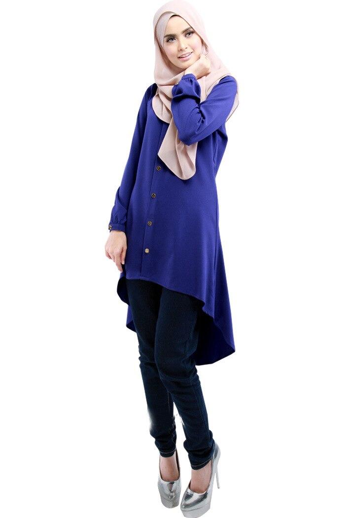 X-Future Womens Modal Solid Color Crew Neck Long Sleeve Arabic Muslim Dress