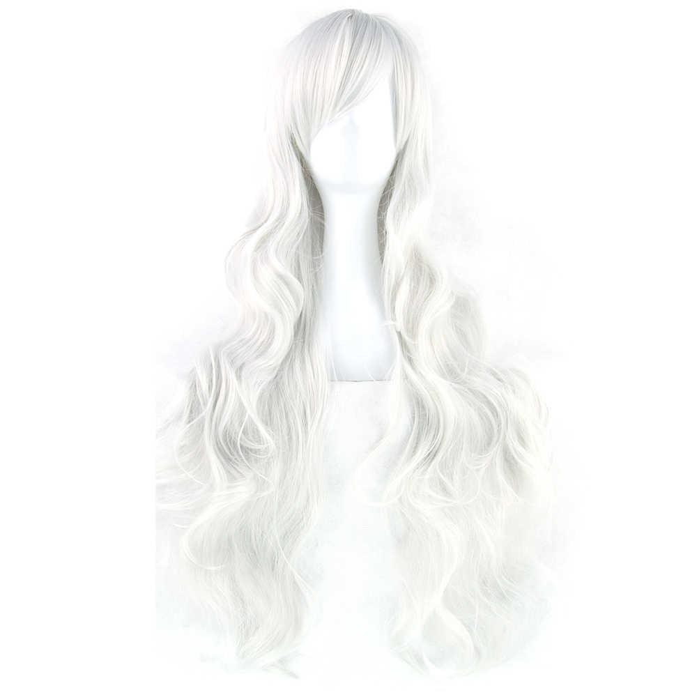 Soowee 20 colores 32 pulgadas pelucas largas de mujer pelo sintético resistente al calor blanco negro ondulado Cosplay Peluca de fiesta accesorios para el cabello