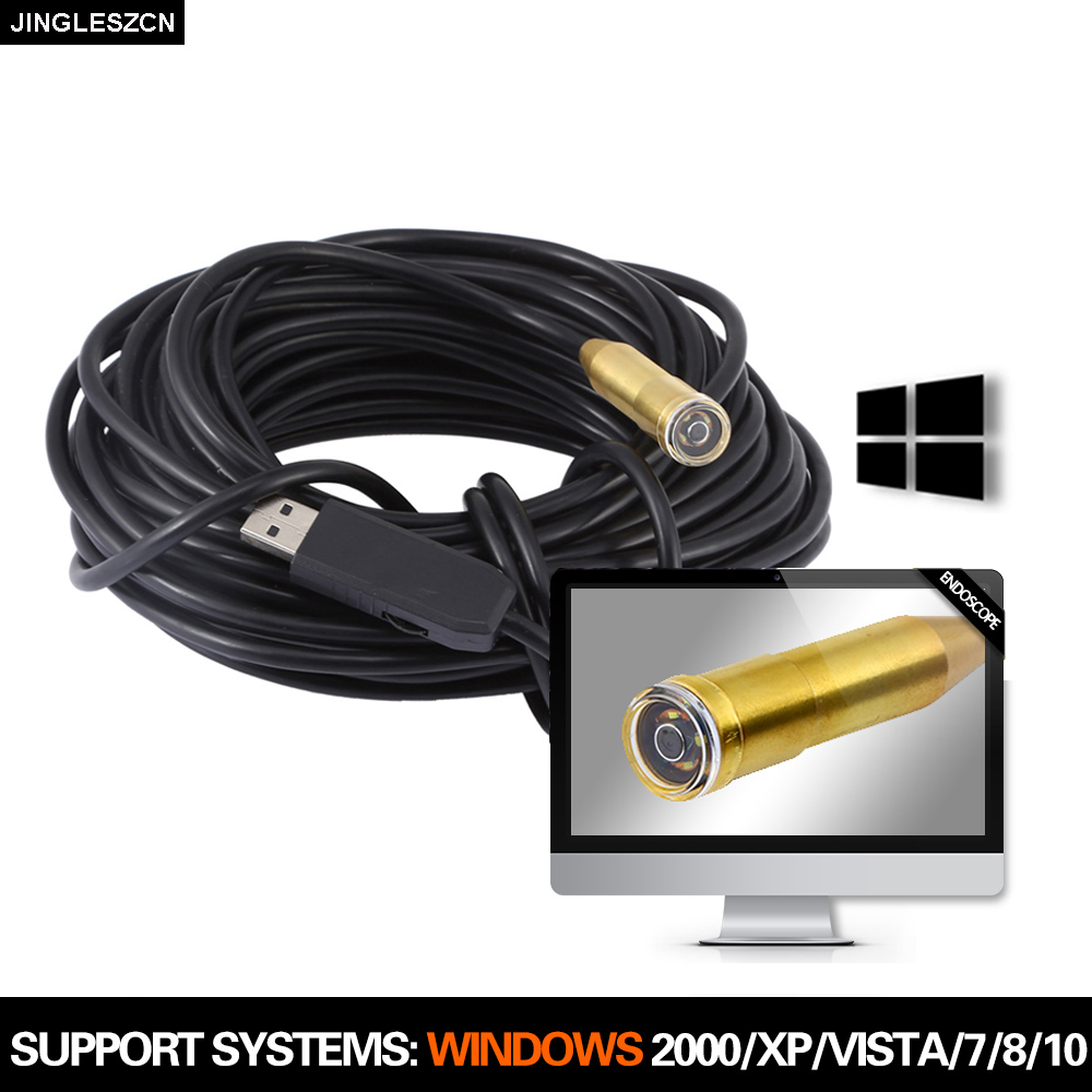 USB Inspection Endoscope Camera 14.5mm 5m/15m/20m/25m USB Endoscope Borescope Snake Camera Waterproof Inspection Camera For PC