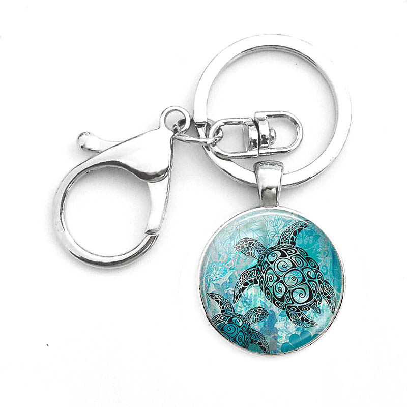 Suteyi Hot Sale Sea Turtles Keychain Bag Sea Turtle Glass Cabochon Key Chain Holder Men Women Jewelry Car Accessories