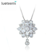 LUOTEEMI High Quality Marquise Cut Cubic Zirconia Princess Flower Pendant Necklace for Women Fashion Sexy Neck Jewelry Hot Sale