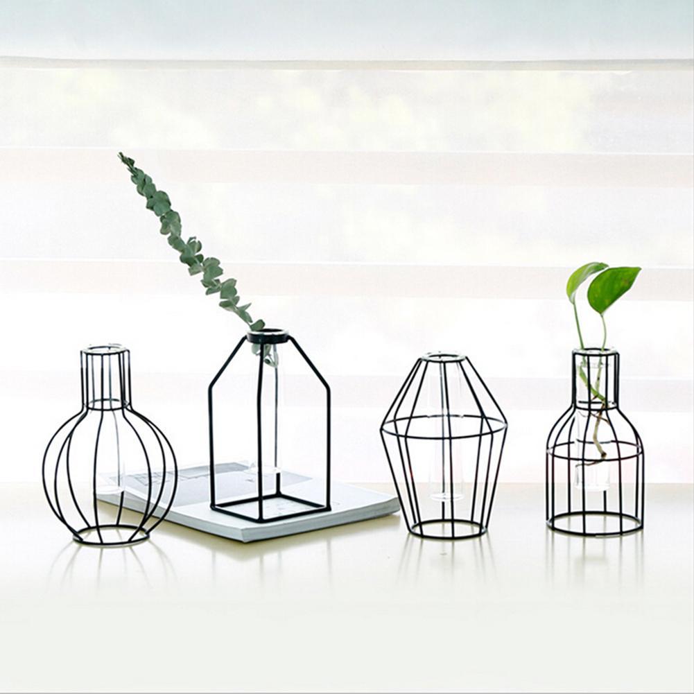 Ev ve Bahçe'ten Saksı ve Ekiciler'de Demir Ekici test tüpü Şeffaf Cam Topraksız Geometrik Çiçek Vazo Standı Ev Dekorasyon Süs title=