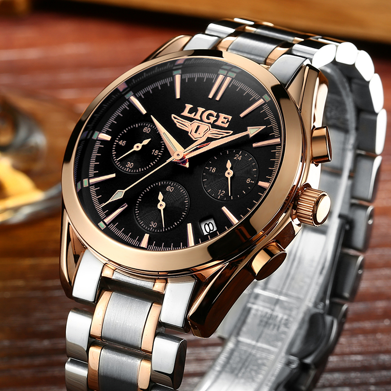 Relogio Masculino LIGE Men Watches Top Brand Luxury Fashion Business Quartz Watch Men Sport Full Steel Waterproof Wristwatch Man woonun top famous brand luxury gold watch men waterproof shockproof full steel diamond quartz watches for men relogio masculino